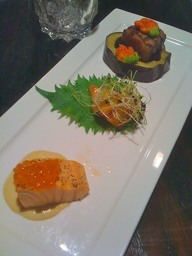 Course 5: Salmon w/Mustard and Tobiko, Seared Sea Bass, Braised Beef Belly on Eggplant