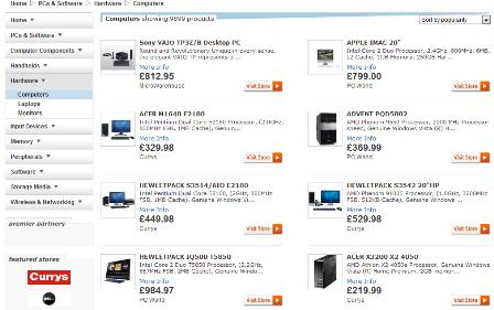 Sky Shopping PC / laptop search