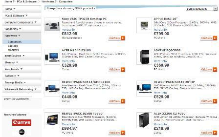 Sky Shopping PC / laptop search