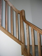 Finished Newel Posts and Bausters (Imagination Unincorporated) Tags: stair post railing newel stairrail baluster newelpost balister customstair overthepost oakstairrail
