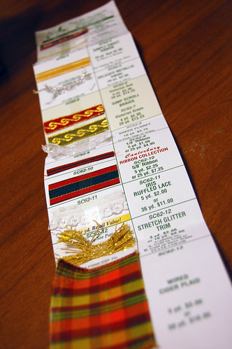 home sew ribbon samples