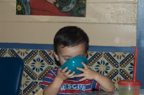 Benji Drinking Queso