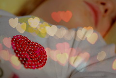 Bokeh hearts...such a clich... (zuzana_nz) Tags: red baby color art texture love girl child shot angle heart bokeh sleep daughter explore 365 karolina pathetic clich bokehlicious bokehheart bokehrama ehbd heartkeh her365project