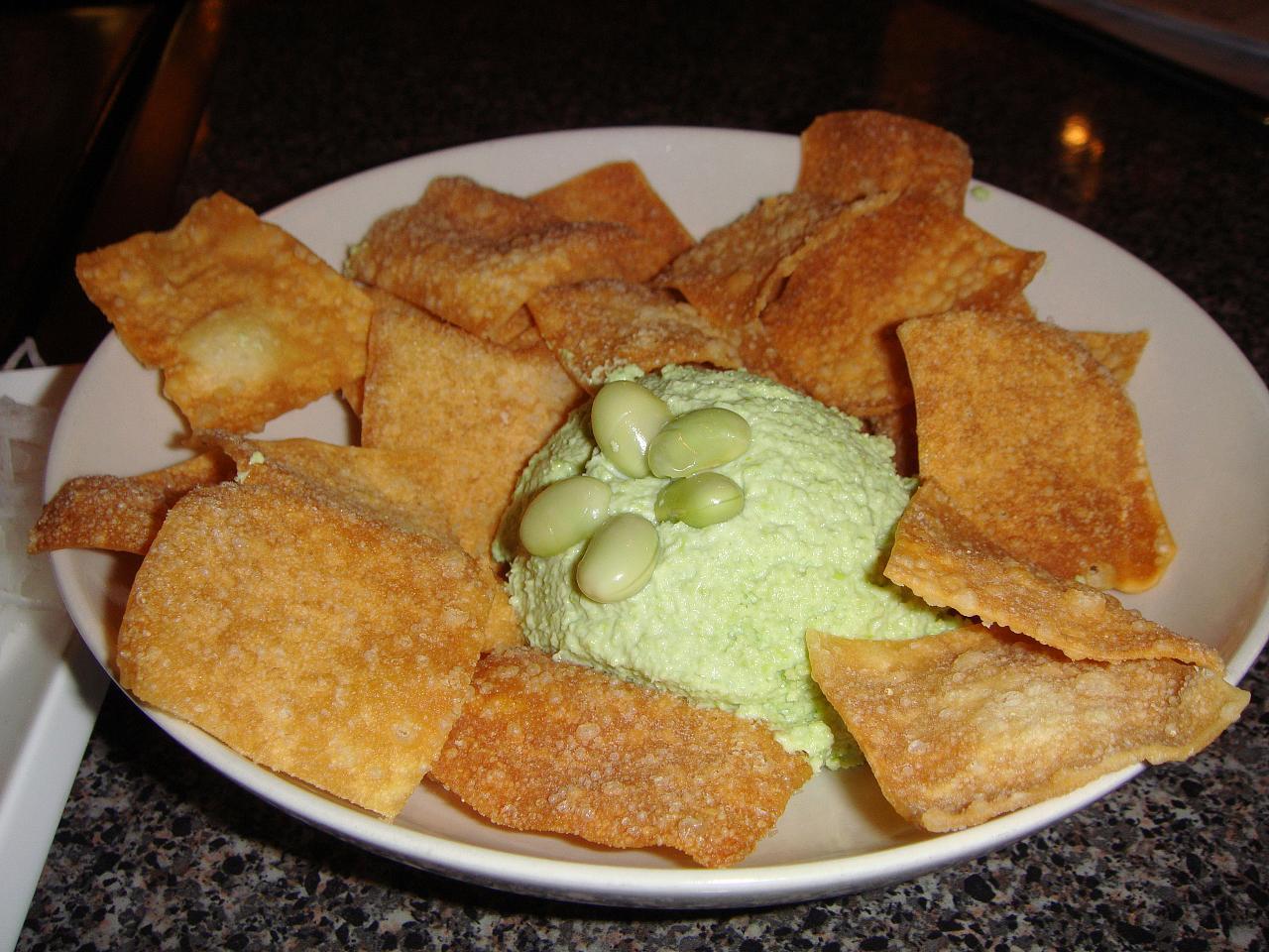Edamame Hummus, wonton chips