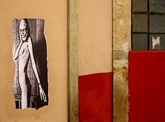 eek! (msdonnalee) Tags: muro wall poster pared architecturaldetail  mura mur parede mauer  walldetail  mexicanwall bizarreposter strangeposter photosbydonnacleveland murodemxico