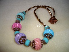 Necklace with beaded beads (marinabead) Tags: collier necklace beads jewelry bijoux bead peyote beaded perles rocaille delicas rocailles