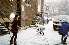 Snowball Fight 1 (flannery lawrence) Tags: school vanessa parkinglot snowballfight keara kalyna disposablecamerawinter