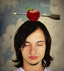 shoot an apple of my head (claudiaveja) Tags: red portrait sky white man black male green apple face closeup shirt photography idea eyes closed tell stock trust claudia arrow concept veja complete stockimages wilhelm trusting royaltyfree rightsmanaged wilhelmtell claudiaveja