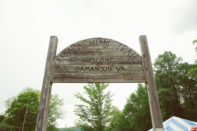 Appalachian Trail Sign in Damascus, VA @ Trail Days