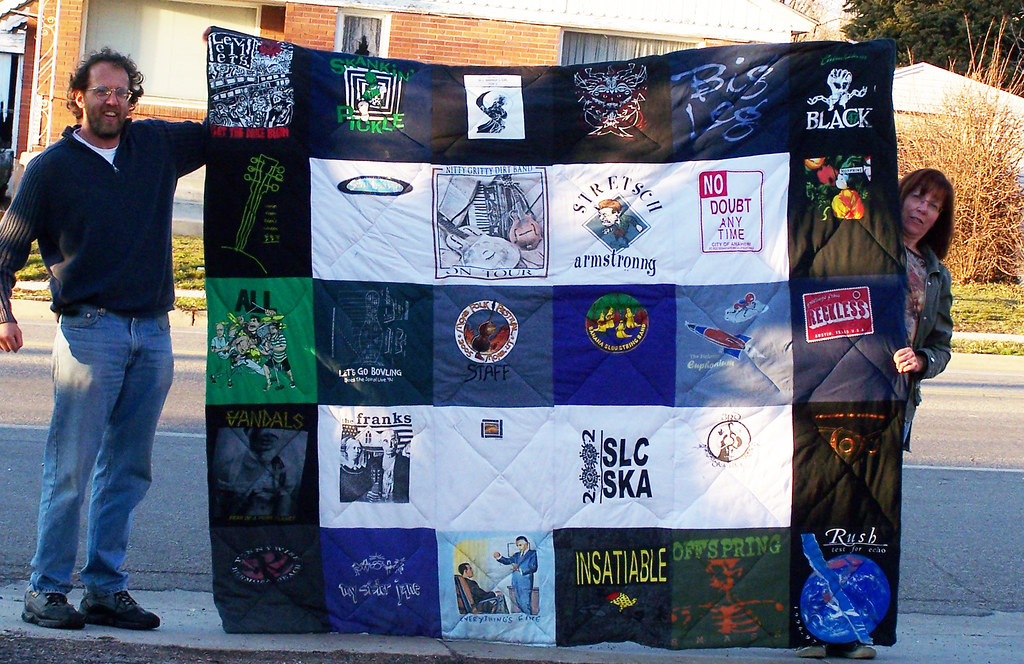 Band tee shirt quilt, front