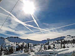 Goodbye Squaw Valley! (kevin dooley) Tags: california winter sky favorite cloud mountain snow tree beautiful plane wow interesting fantastic flickr pretty contrail very good gorgeous awesome award superior super best explore trail most valley winner stunning excellent much goodbye olympics incredible breathtaking shiningstar exciting squaw phenomenal mywinners theothervillage freenature eperke flickrrose