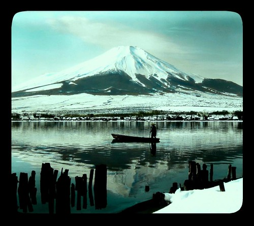 MOUNT FUJI FROM THE DOCK PILINGS -- The Lone Boatman in Japan's Winter Light (Morning on Lake Yamanaka)