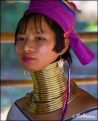 Burmese Long Neck Tribe woman in refugee camp in Chiang Mi. (shapour bahrami) Tags: ladies portrait woman neck thailand long burma karen longneck chiangmai myanmar tribe brass burmese thanaka longnecktribe karentribe longnecks natgeo kayan goldenglobe blueribbonwinner