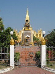King Setthathirat (joaquinuy) Tags: pictures new travel food tourism fun golden southeastasia photos buddha stupa sightseeing buddhism pride tourist communist backpacking monks temples laos wat backpacker vientiane chedi ramayana vientienne theraveda peoplesdemocraticrepublic