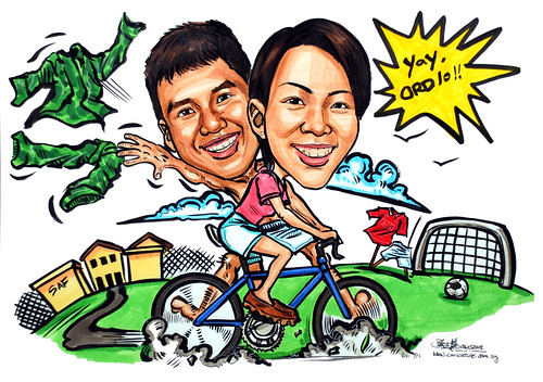 Couple caricatures bike Army Camp Man-U Soccer Field