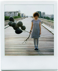 day 57 v2 (kygp) Tags: bridge girls people black paris france me analog balloons polaroid sx70 photography 10 ladefense elisa selfportrai kygp kygpuk dudnikova