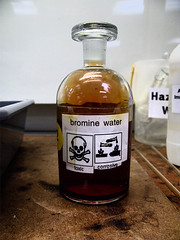 Bromine Water (maticulous) Tags: bromine water chemistry concetrated toxic noxious gas liquid pure canon powershot g9 hdr macro laboratory lab chemicals