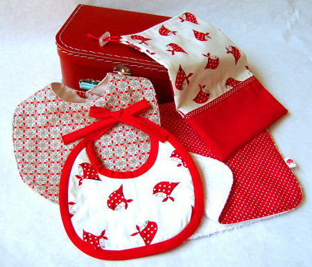 red baby gift set