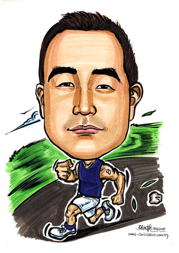 Caricature Singapore Navy Triathlete