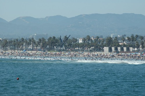crowded beach in venice beach california