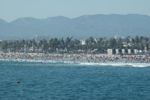 crowded beach in venice beach california
