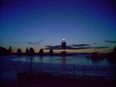 Blue Nightfall (fredboness) Tags: blue lighthouse wisconsin nightfall