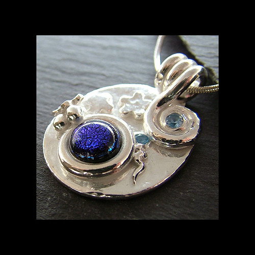 Silver & Dichroic Glass Necklace