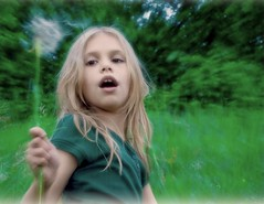 spinning a wish (unonymous) Tags: girl kids happy child dandelion spinning dreams panning wishing