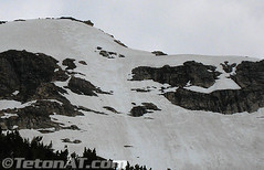 Spring ski track son Buck Mountain