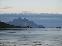 Pink mountain rising from the sea (anja63) Tags: norway lofoten midnightsun
