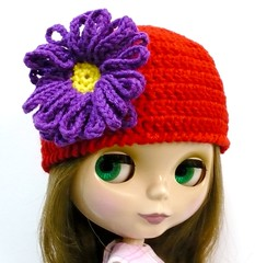 Blythe - Crocheted Hat - Red with Big Purple Flower