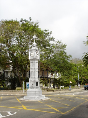 The clocktower on the main square in Victoria, on Mahe (Seychelles)