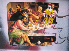 Fast Supper (Dr Case) Tags: streetart london ronald sticker davinci mcdonalds happymeal lastsupper nolionsinengland fastsupper godisaclown