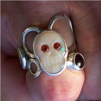 """Finished and clean""""Peggy"""" The cycle of life ring Coober Peedy Opal Skull set in silver."""
