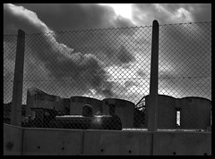 Storms, Smoke & Steam (Jealously Blue) Tags: uk sky blackandwhite black rain weather wheel silhouette wall clouds hope blackwhite nikon industrial factory view dusk framed derbyshire peakdistrict cement engine peak railway monotone steam locomotive lafarge nikond40 cmwdblackandwhite