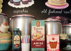 A happy shelf in our kitchen (holiday_jenny) Tags: pink red party art kitchen cake vintage shopping baking aqua candles basket box retro shelf collection plastic cupcake sprinkles chrome bakery wrappers kromex