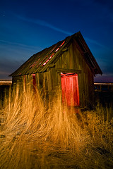 Engulfed (LukeOlsen) Tags: nightphotography red usa abandoned night oregon nocturnal shed shack nocturne pw strobist 580exii lukeolsen pdxstrobist
