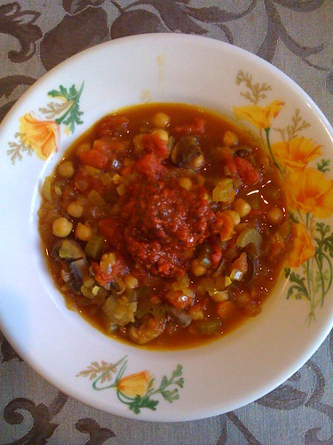 Mushroom & chickpea stew with roasted pepper coulis