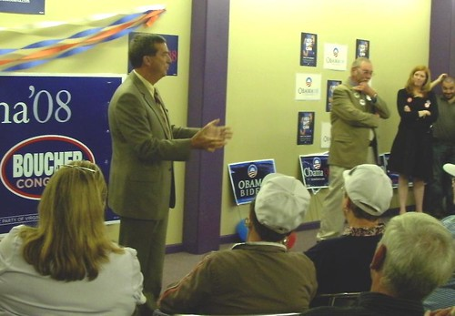 Va. State Senator William Puckett speaks to the crowd at the opening of Obama's Tazewell Campaign Office - Sept. 25, 2008