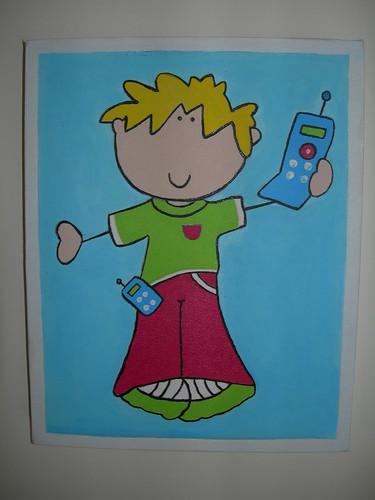 boneco com telemóvel
