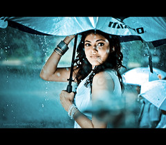 Mysterious Girl (Yug_and_her) Tags: life people woman india macro film water girl rain umbrella drops nikon candid indian touch human actress bollywood hyderabad incredible kajal 105mm telugu tollywood agarwal infinestyle