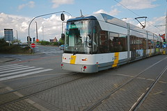 Shiny tram in Ghent, Belgium (Koos Fernhout) Tags: belgie belgië belgien belgique gand gent geo:lat=51067277 geo:lon=3726811 geotagged ghent strictly tram tramwaje tramway koosfernhout