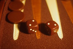 Doubles! (llnesinthesand) Tags: brown dice game boardgame backgammon