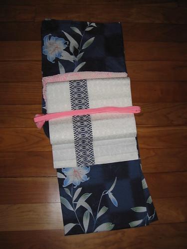 Navy UNIQLO yukata coordinate - Kimono-style