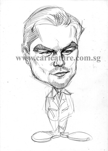Celebrity caricatures - Leonardo Dicaprio pencil sketch watermark
