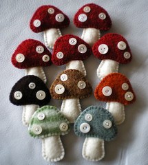 toadstool brooches (lilfishstudios) Tags: mushrooms pin handmade sewing brooch craft toadstools repurposed vintagebuttons feltedwool handmadefelt lilfishstudios feltedwoolsweater