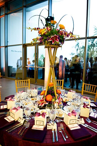 the perfect base to the spectacular tall bamboo and floral centerpieces