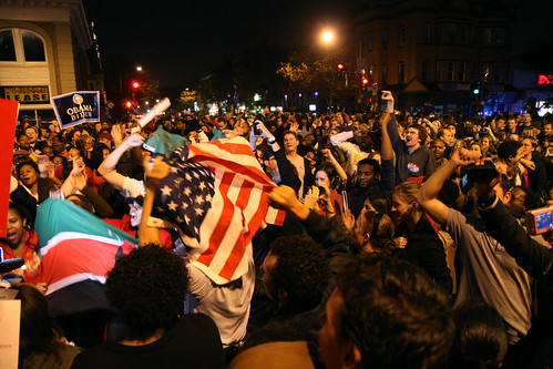Obama election celebration on U Street by mlovitt, on Flickr