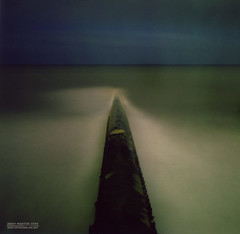 Pola-pipe, Hendon Beach - Sunderland (Andy-artin) Tags: longexposure nightphotography sea moon film beach night polaroid fuji pipe wear full sewage 600 northeast outlet nightphotos sunderland hendon 600se wearside northeastengland fp100c nightphotographyuk shitpipe