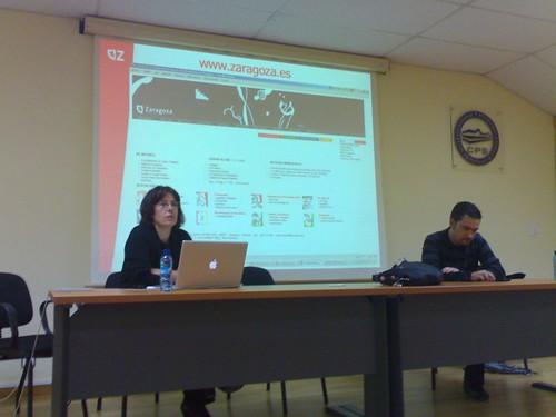 Imagen de los dos ponentes en la sesión del WUD 2008